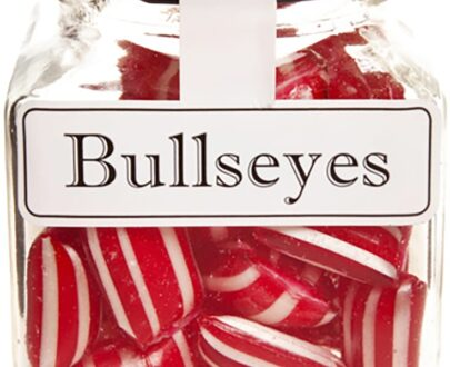 Bullseyes Peppermint Boiled Lollies Rock Candy 130g Jars - Packed In Boxes of 12