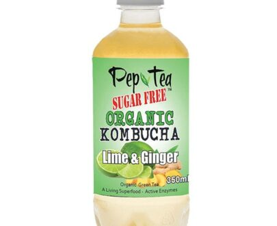 Organic Kombucha Tea - Lime & Ginger - SUGAR FREE Drinks - 12 Pack